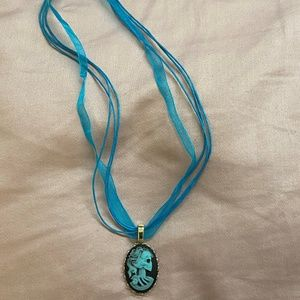 Blue Skull Cameo Necklace